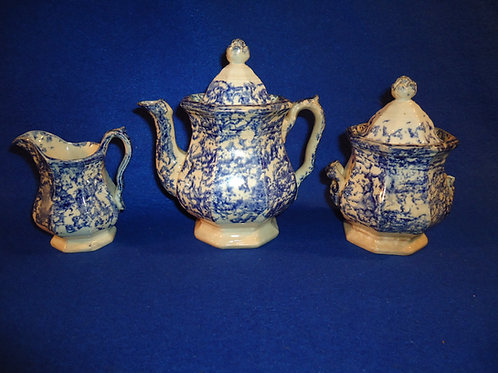 Circa 1830 Staffordshire Child's Tea Set in Blue and White Spongeware