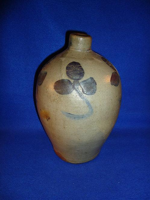 1 Gallon Stoneware Jug with Three-Leaf Clovers, att. Russell of Beaver, PA