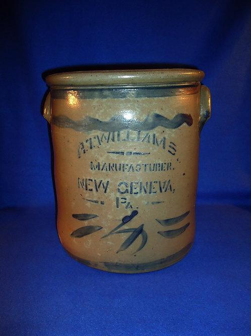 R. T. Williams, New Geneva, Pennsylvania Stoneware 4 Gallon Blue Decorated Crock