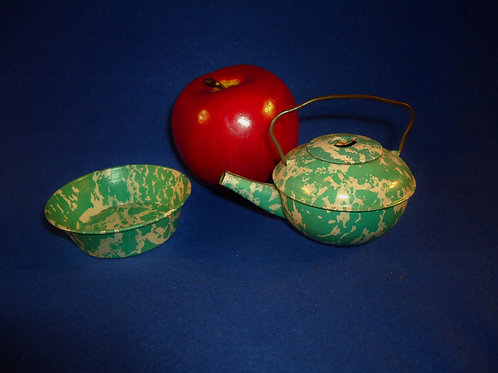 Green and White Enamelware Graniteware Toy Teapot and Pan