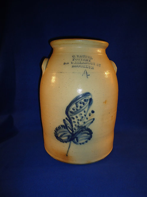 C. Vaupel, Brooklyn, New York Stoneware 4 Gallon Jar with Trumpet Flower