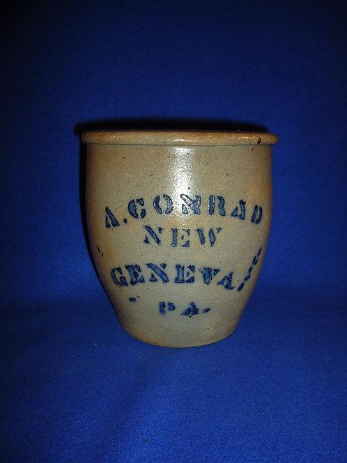 A. Conrad, New Geneva, Pennsylvania Stoneware Cream Pot with Bold Blue #5203