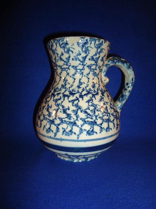Blue and White Spongeware Stoneware Hot Water Pitcher #5684