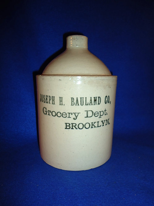 Joseph Bauland, Grocery, Brooklyn, New York Stoneware 1/2 Gallon Jug
