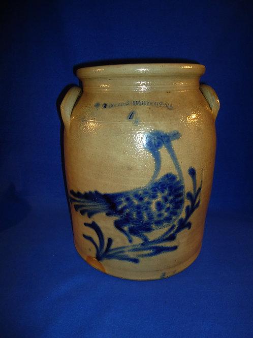 Whites of Binghamton, New York 4 Gallon Stoneware Jar with Dotted Bird, #5021