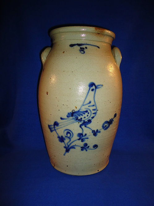 W. Roberts, Binghamton, New York 5 Gallon Stoneware Churn with Folk Art Bird