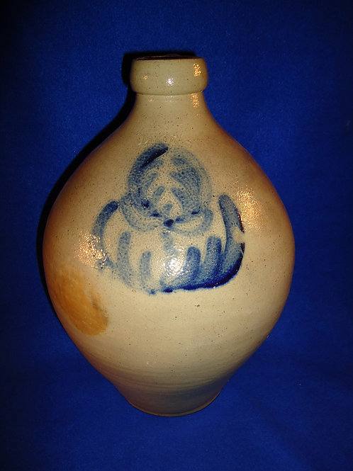 Lyons 2 Gallon Stoneware Ovoid Jug with Tulip, att. Thompson Harrington