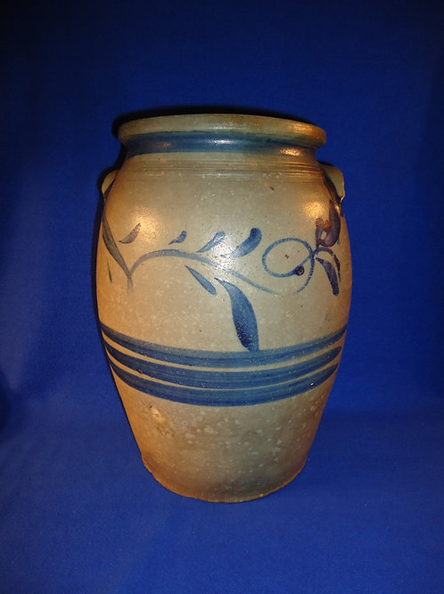 Circa 1860 Stoneware 4 Gallon Jar with Freehand Decoration from SW Pennsylvania