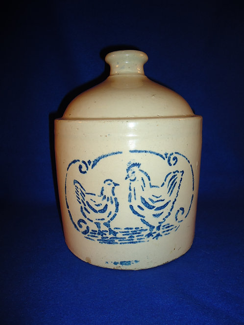 Blue and White Stoneware Chicken Waterer