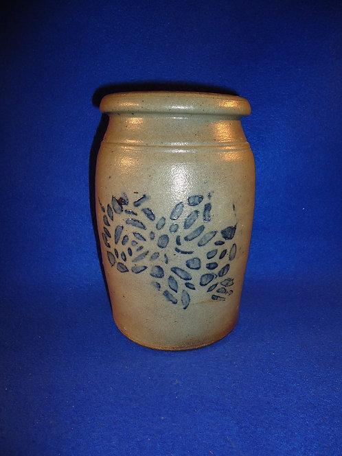 Circa 1880 1/2 Gallon Stoneware Jar with Stenciled Rose, att. Greensboro, PA