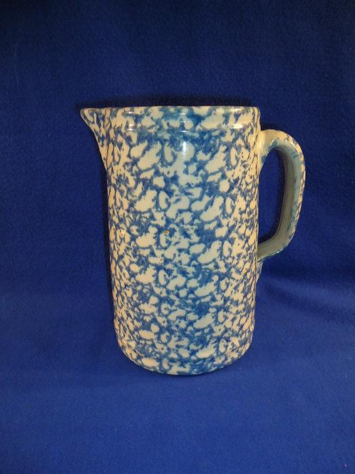 Circa 1900 Blue and White Spongeware Stoneware Pitcher with Tight Pattern