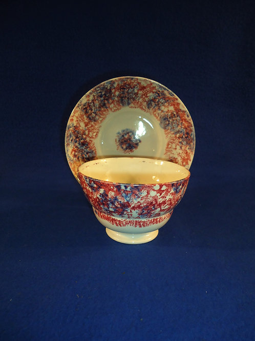Staffordshire Blue and Red Spongeware Handleless Cup and Saucer #5194