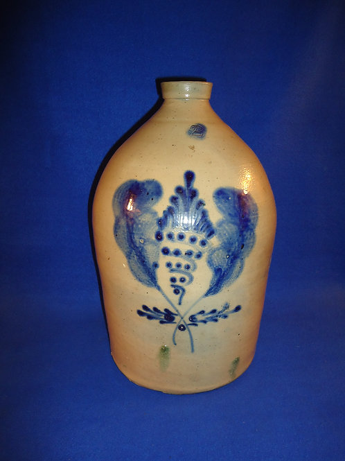Two Gallon Stoneware Jug with Double Plume, att. Somerset Potters Works, #4912