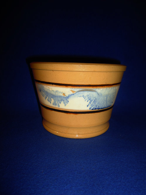 19th Century Yellow Ware Storage Jar with Blue Mocha Seaweed