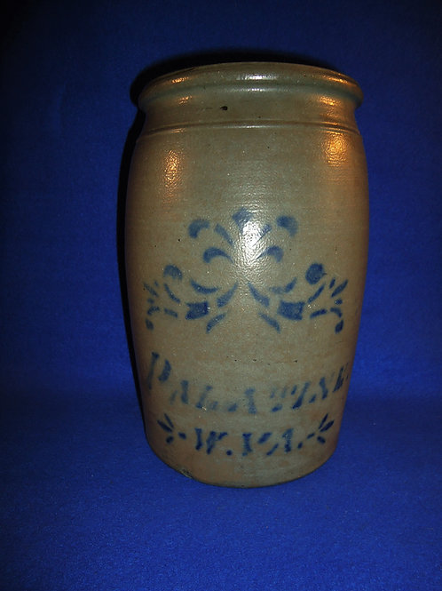 Palatine, West Virginia Stoneware 1 Gallon Jar with Floral, #4704