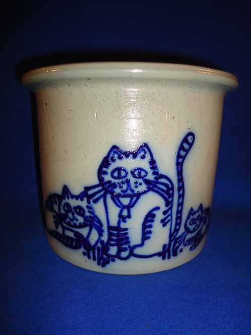 Beaumont Pottery, York, Maine Stoneware Crock with 3 Cats #5083