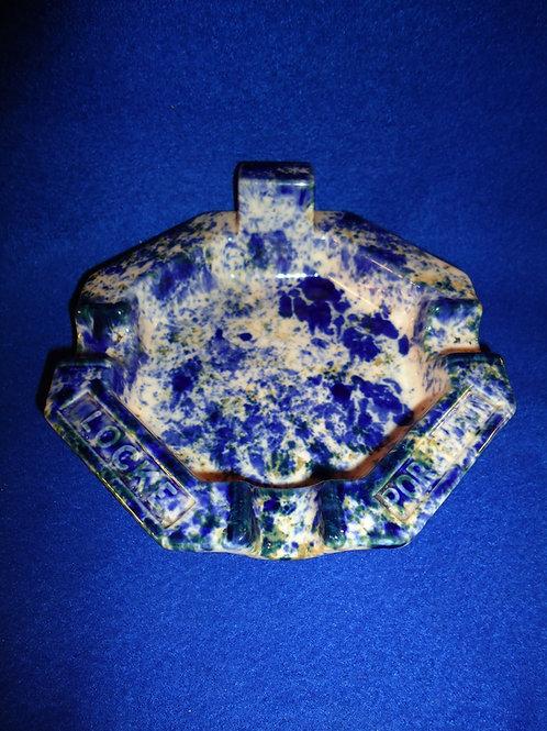Locke Porcelain Blue and White Spongeware Ashtray
