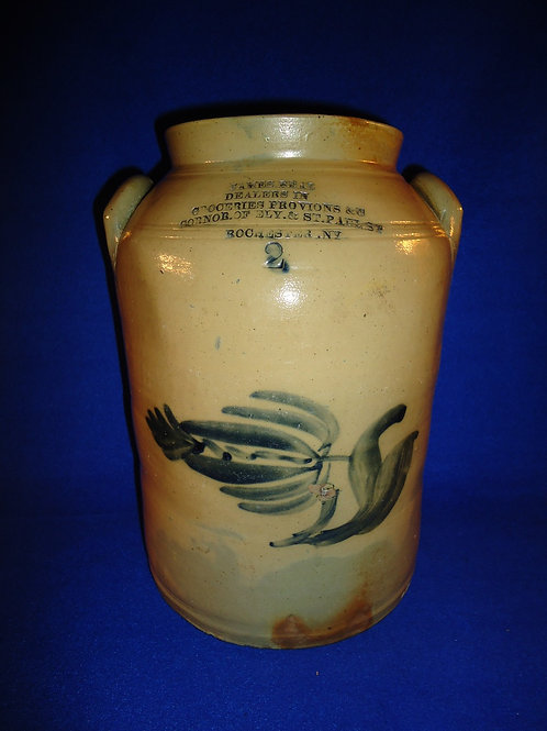 James and Beal, Grocers, Rochester, New York Stoneware 2 Gallon Jar with Tulip