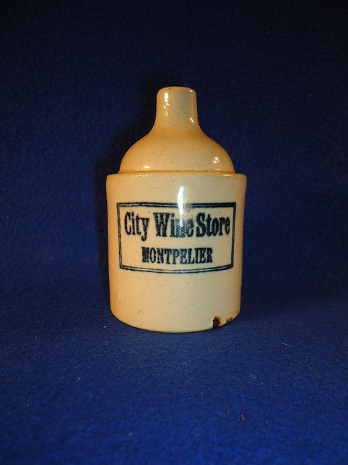City Wine Store, Montpelier, Vermont Stoneware Mini Jug