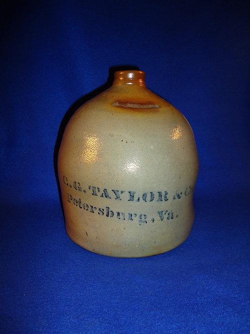 C. G. Taylor, Petersburg, Virginia Stoneware 1g Jug, Donaghho of Parkersburg