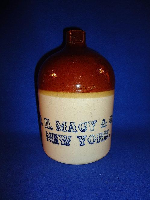 R. H. Macy, New York 1/2 Gallon Stoneware Jug