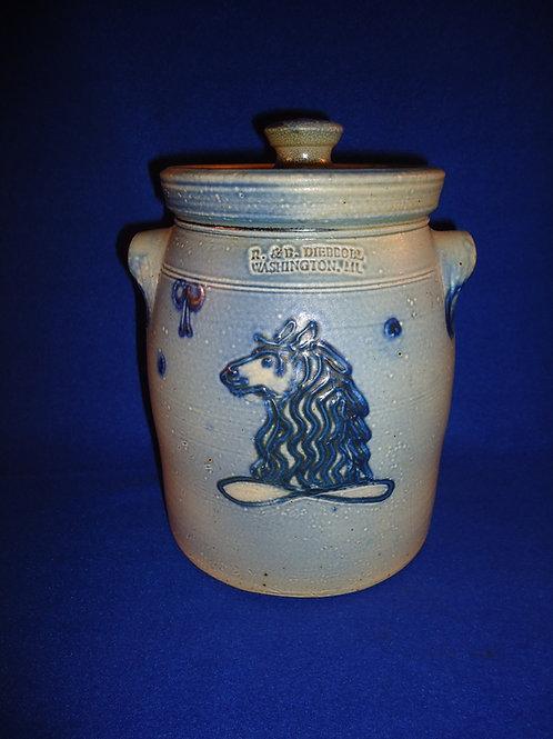 R. & B. Diebboll, Washington, Michigan Stoneware 1 Gallon Jar with Horse Head