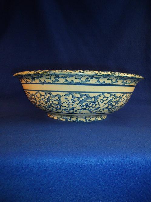 Blue and White Spongeware Stoneware Wash Basin #4524