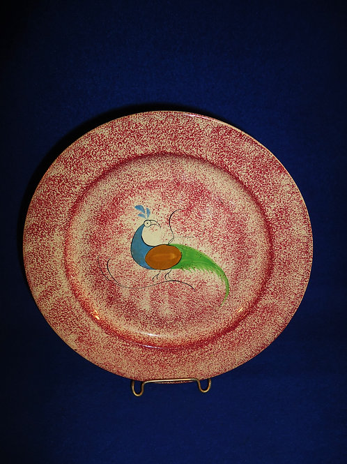 """Staffordshire Red Spatterware 9 3/8"""" Plate with Peafowl #5198"""