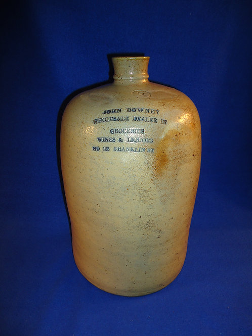 John Downey, Groceries, Wines, Liquors, Baltimore, Maryland Stoneware Jug