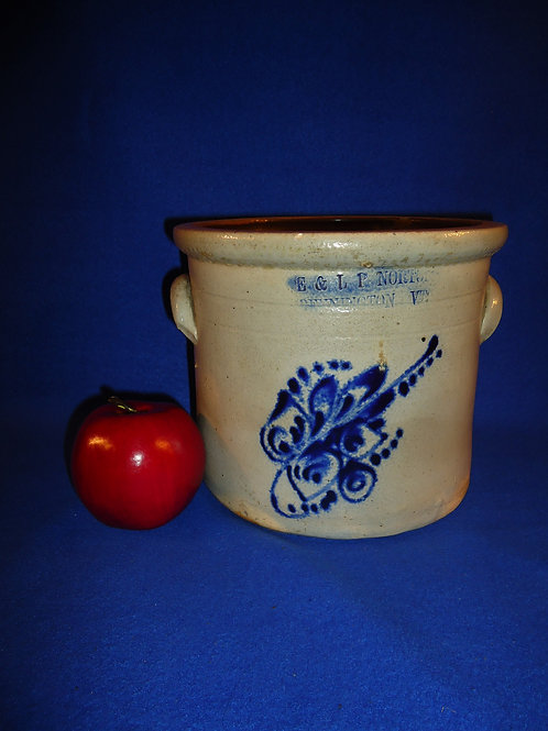 E. & L. P. Norton, Bennington, Vermont Stoneware Tiny Crock with Floral #5008