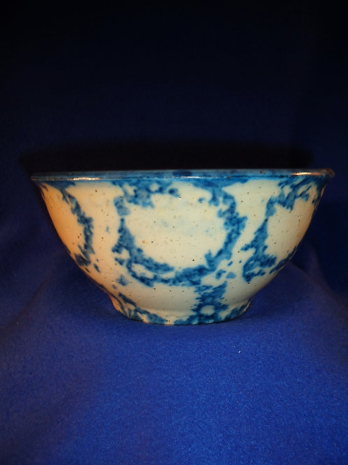 "Blue and White Spongeware Stoneware 8"" Bowl with Chicken Wire Pattern"