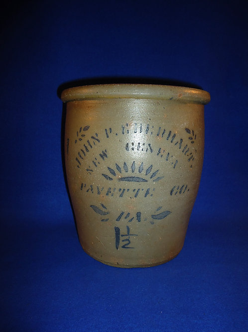 John Eberhart, New Geneva, Pennsylvania Stoneware Cream Pot