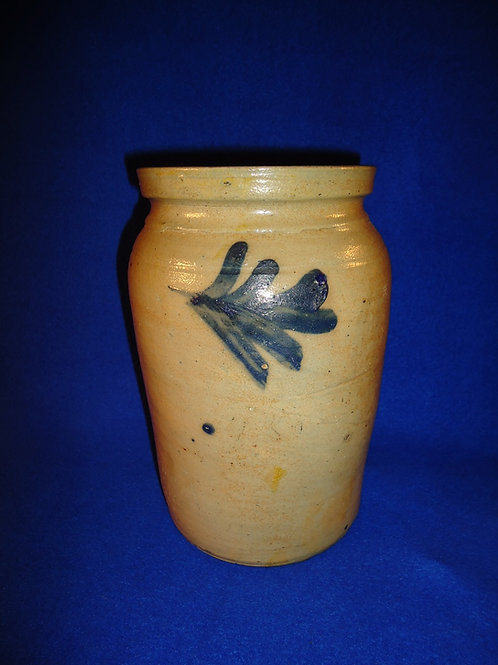 "9"" Stoneware Jar with Three Freehand Leaves, att. Remmey of Philadelphia"