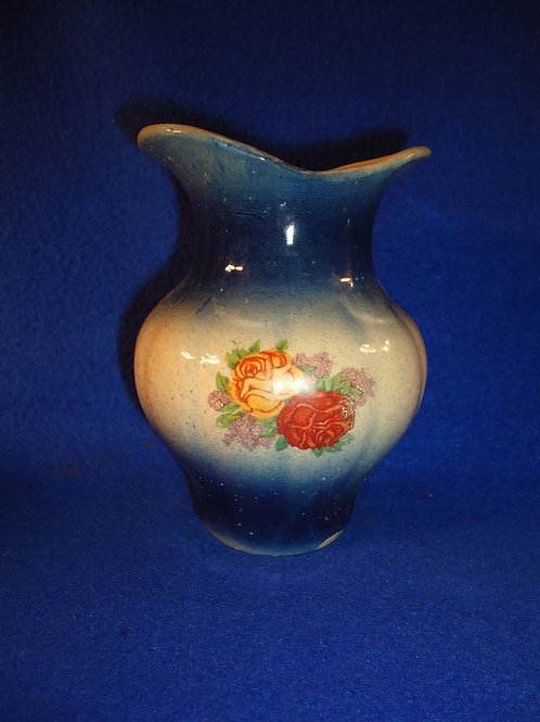 Blue and White Stoneware Rose Transfer Toothbrush Holder