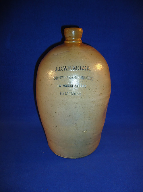 J. C Wheeler, Groceries and Liquors, Baltimore, Maryland Stoneware 1 Gallon Jug