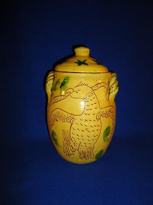 Early Breininger, Robesonia, Pennsylvania Lidded Redware Jar #5792