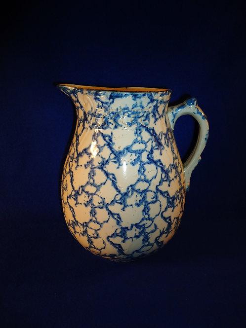 Blue and White Spongeware Stoneware Pitcher by Brush McCoy
