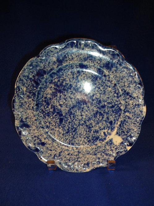 "Blue and White Spongeware Stoneware 8 1/2"" Plate"