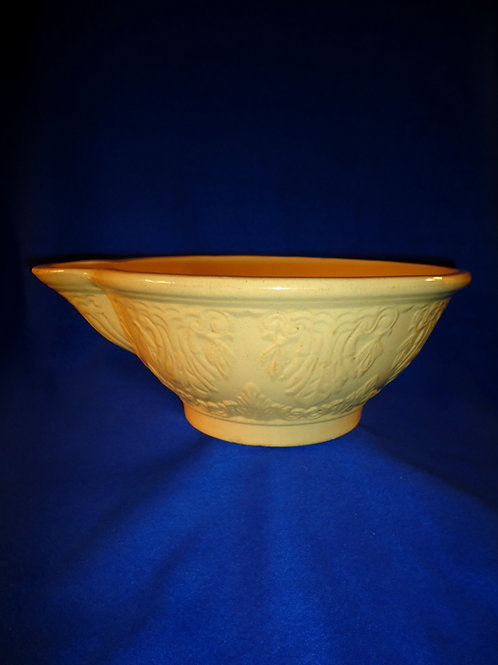 "Fancy 11 1/2"" Yellow Ware Batter Bowl, att. Jeffords of Philadelphia"