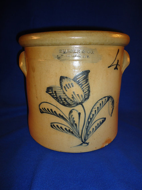 Burger & Co., Rochester, New York Stoneware 4g Crock with Huge Tulip #5829