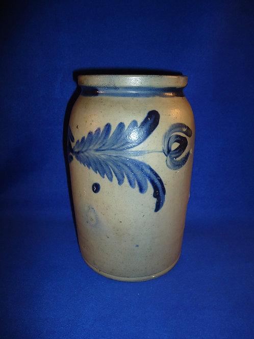 Remmey of Philadelphia 1 Gallon Stoneware Jar with Bold Cobalt Garland