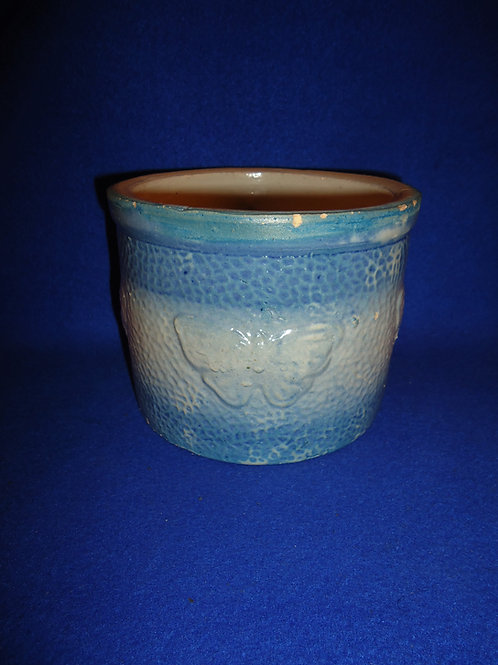 Blue and White Stoneware Butter Crock in the Butterfly Pattern, #4851