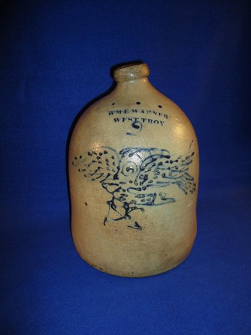 Wm. Warner, West Troy, N.Y. Stoneware Jug with Eagle Firing an Arrow, #4828