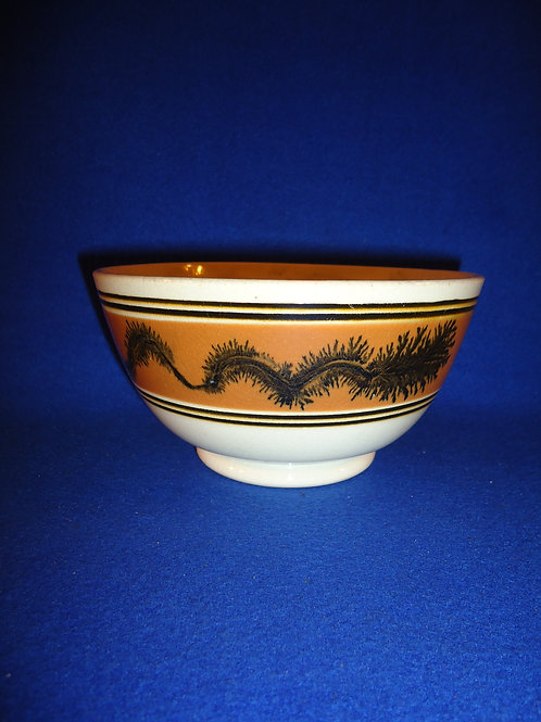 Footed Bowl with Black Seaweed in a Brown Mocha Band #4605