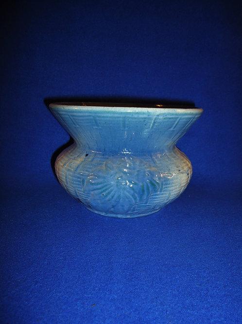 Blue and White Stoneware Basketweave & Poinsettia Cuspidor Spittoon #4536