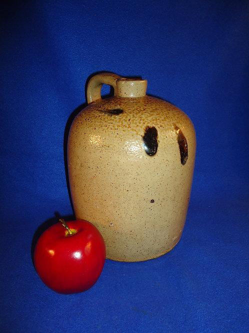Circa 1880 Midwestern Stoneware 1 Gallon Jug with Salt Drip Decoration