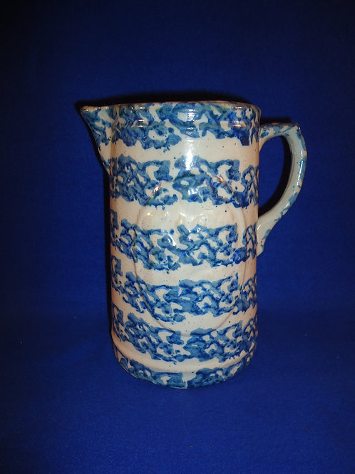 Blue and White Spongeware Stoneware Girl and Dog Pitcher #4636