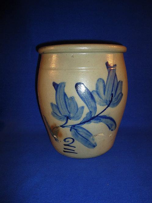 2 Gallon Stoneware Cream Pot with Huge Tulips, Beaver, Pennsylvania #5056