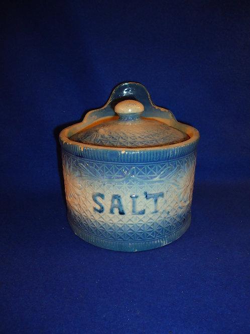Blue and White Stoneware Daisy on Snowflake Salt Crock