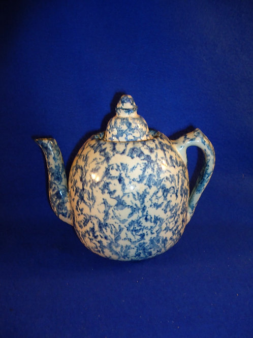 Blue and White Stoneware Spongeware Teapot with Lid